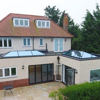 outside shot of aluminium lantern roof extension
